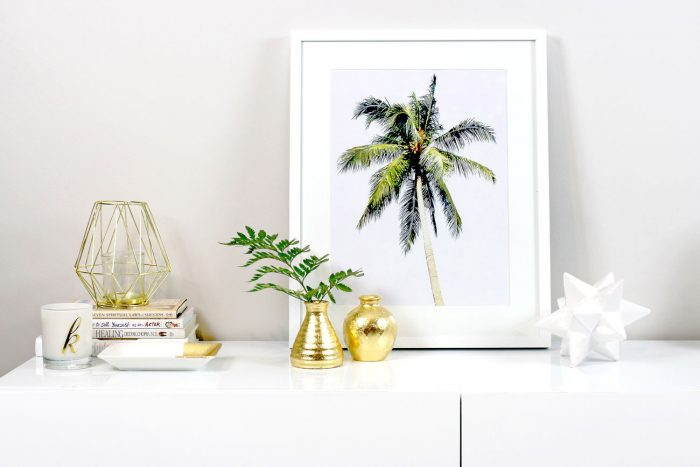 DIY Art: Creating Your Own Framed Tropical Prints - Printable Wall Art, IKEA, Frames, Prints, Printables, Inexpensive, Custom, Art, Palm Trees, Palms, Make Your Own Art, Print Your Own Art, Framing Printable Art, Gold Leaf Vases, White and Gold