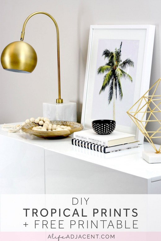 Learn to create DIY framed tropical prints to add a hint of the tropics to your living space. Includes FREE printable palm tree print. This inexpensive & easy home decor DIY will transport you to relaxing, serene summer days. Also includes styling ideas & picture frame recommendations. #DIY #DIYHome #DIYHomeDecor #DIYDecor #DIYArt