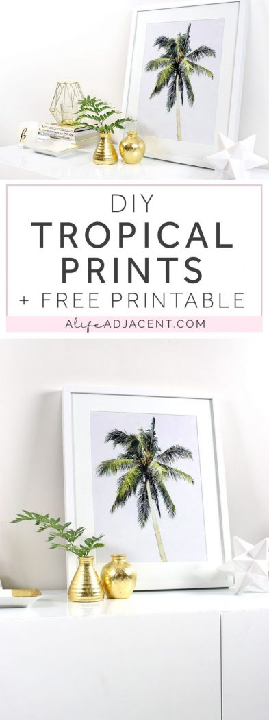 This easy, inexpensive home decor DIY will transport you to the tropics and add an element of nature to your space. Learn to create DIY framed tropical palm prints. Includes FREE printable art! Your custom print can be displayed on your wall, credenza, & more. Includes styling ideas & picture frame recommendations. #DIY #DIYHome #DIYHomeDecor #DIYDecor #DIYArt #Printable #Printables