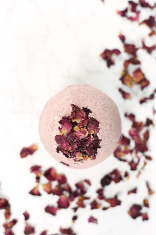 Close up of DIY rose bath bomb
