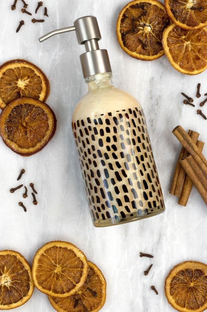 DIY liquid hand soap with cinnamon, sweet orange and clove essential oils