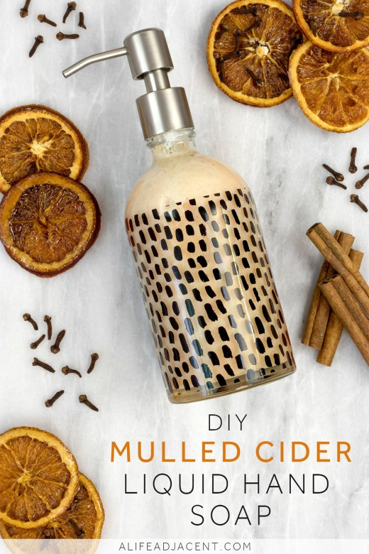 Homemade mulled cider liquid hand soap made from bar soap