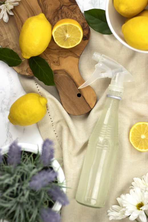 Homemade glass cleaner with lemons