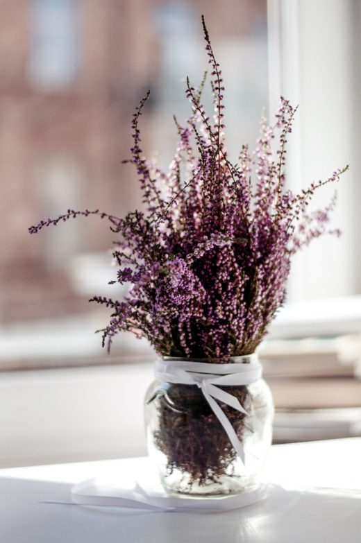 Vase full of lavender flowers