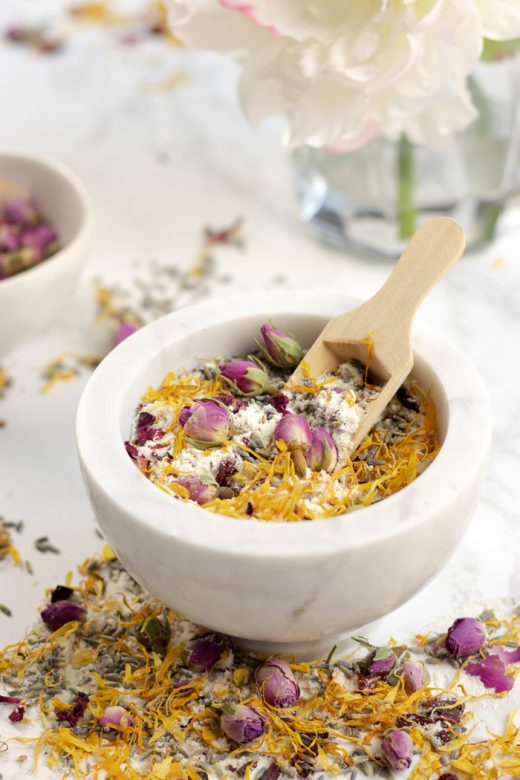Calendula, rose, lavender and hibiscus bath soak