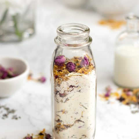 Homemade floral milk and honey bath