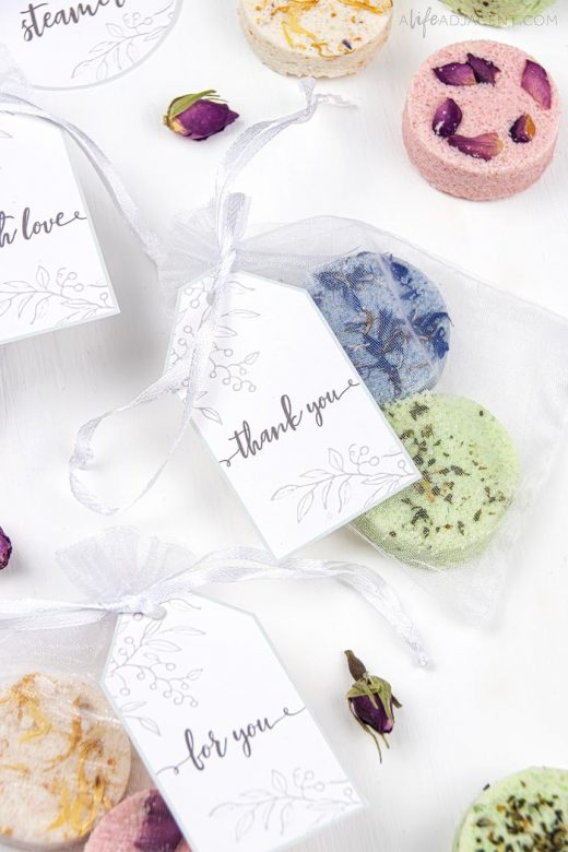 Homemade shower melts with printable gift tags
