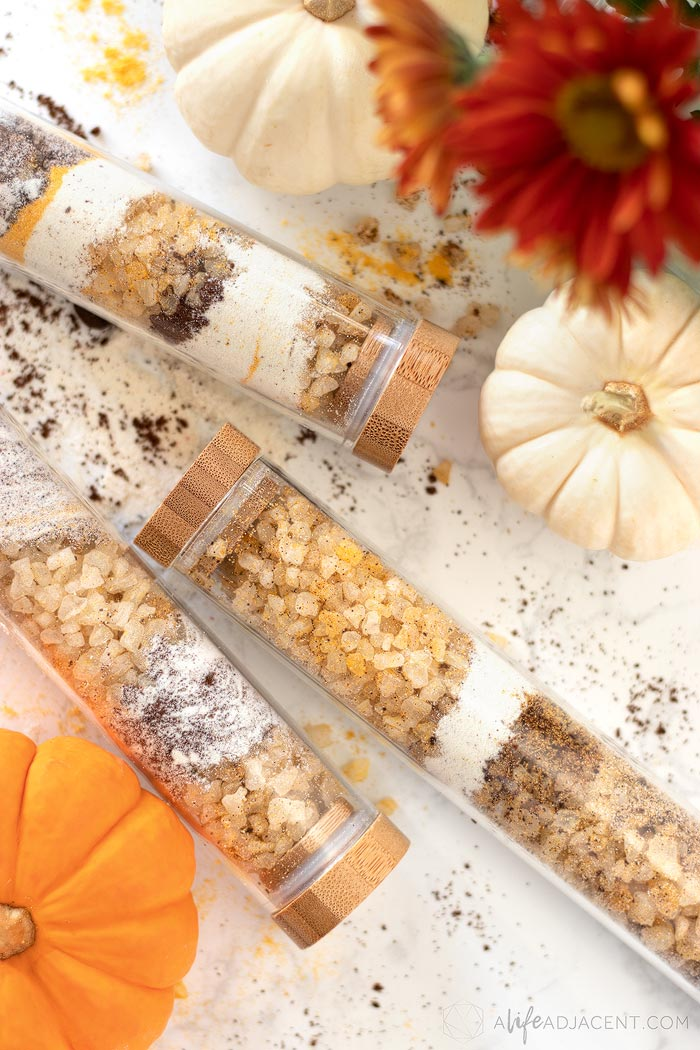Homemade pumpkin spice latte bath soak