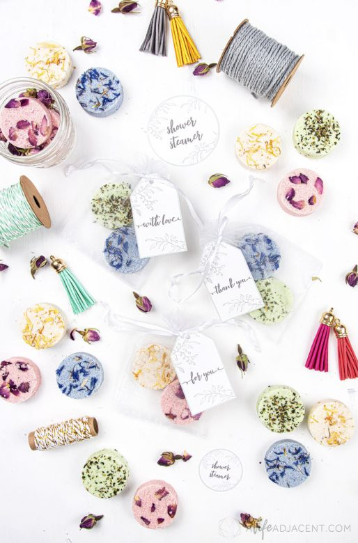 Homemade shower steamers with printable gift labels