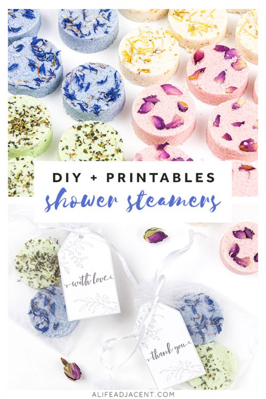 DIY shower steamers with printable labels and gift tags