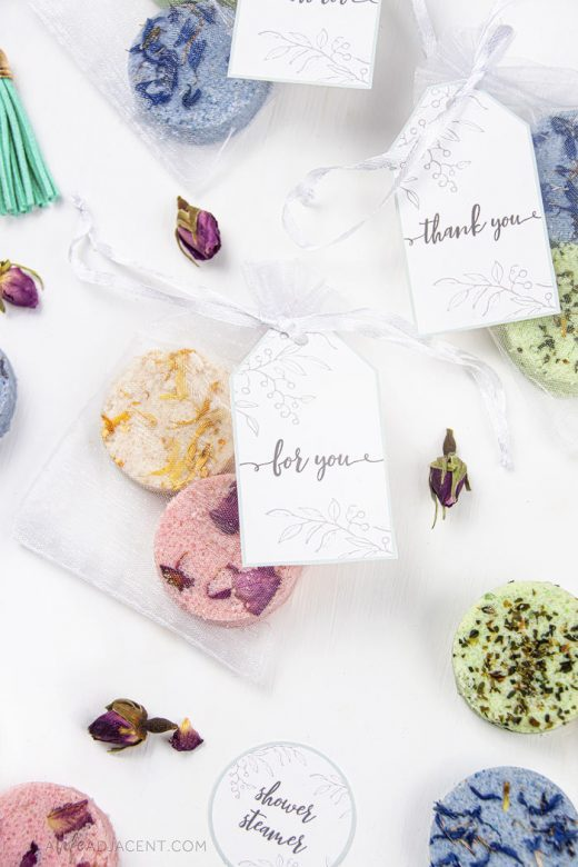 Shower steamers in gift bags with printable tags