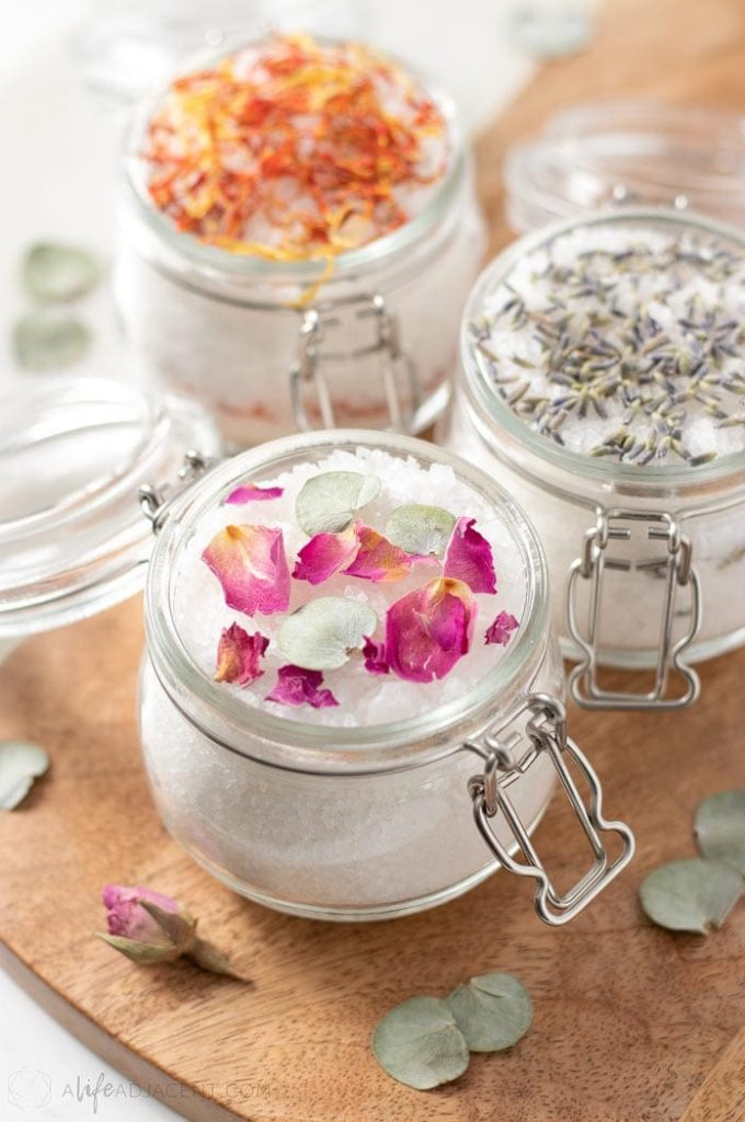 DIY floral bath salts in glass jars