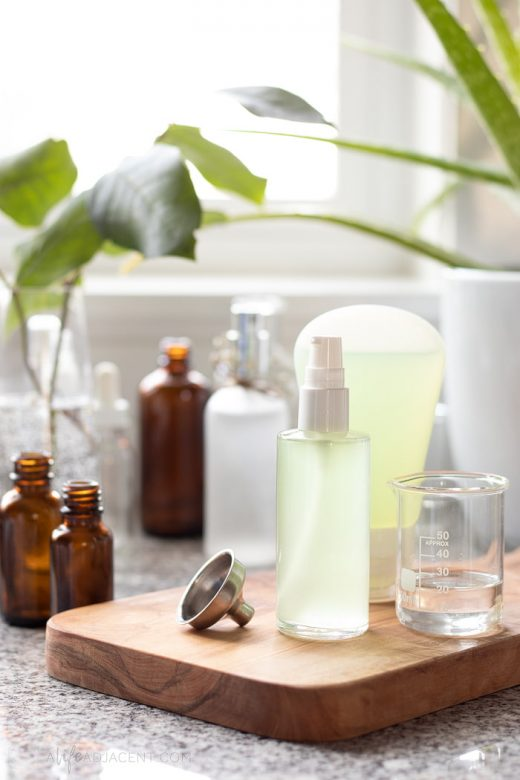 Homemade hand sanitizer in glass bottles