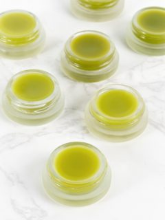 DIY green tea lip balm in glass jars