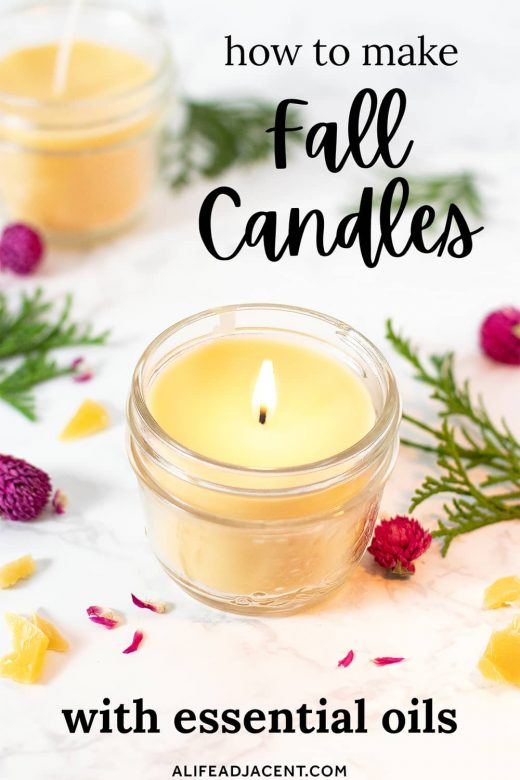 Homemade fall candle with flowers and text overlay: How to Make Fall Candles with Essential Oils