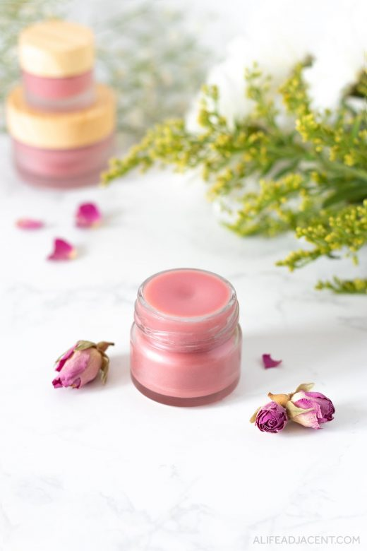 DIY rose tinted lip balm.