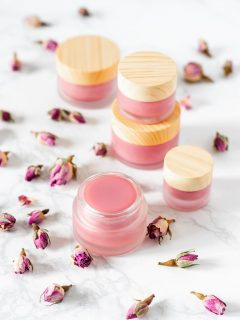 DIY rose lip balm.