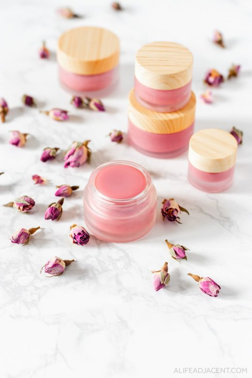 DIY rose petal lip balm.