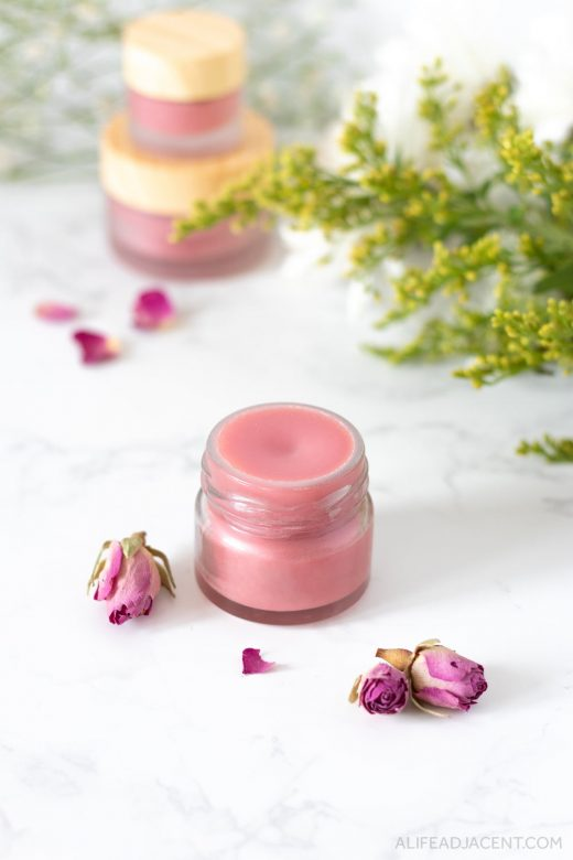 Homemade rose lip balm.